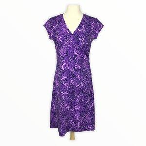 Athleta | Nectar Floral Faux Wrap Dress Purple S